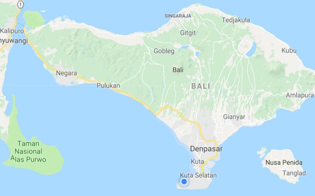 Indonesia and bali retirednotfired bali the island of the gods the blue dot below is where the bingin beach villas are located gumiabroncs Images